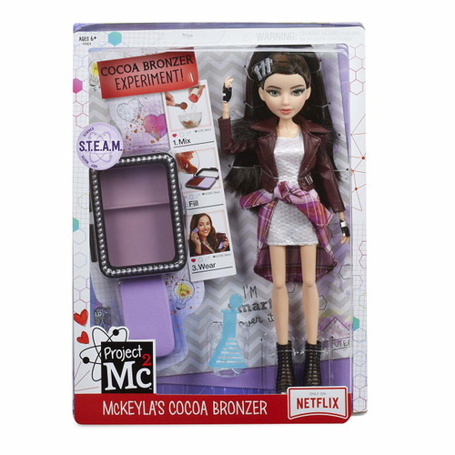 Project Mc2 leader, McKeyla McAlister, dressed in NEW rock band theme! Premium fashion featured in TV episodes. Fully articulated doll (knees, hips, wrists, elbows, shoulders, neck) features premium saran hair, glass eyes and eyelashes. MAKE YOUR OWN BRONZER: Mix cornstarch and cocoa powder together. Wet, then press into provided compact mold. Let dry, then apply! Includes compact with lid, puff, science pipette and comb for doll. Household ingredients not included.