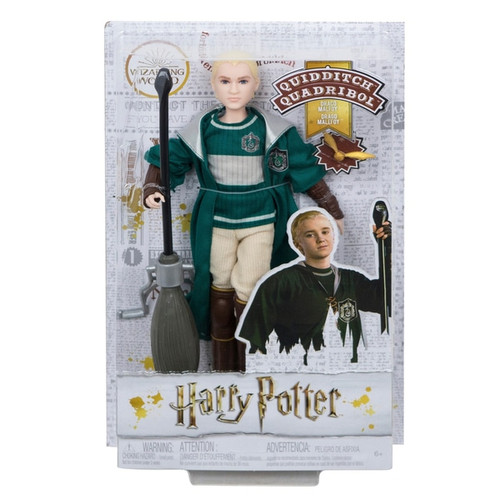 """Special details, like the Slytherin emblem on his robe, make Draco Malfoy doll look just like his character in the iconic film series True-to-movie Quidditch accessories Eleven """"joints"""" that allow for maximum wizarding action Fans and collectors will love recreating action-packed Quidditch matches from the movies and imagining their own wizarding storylines with Harry Potter Draco Malfoy Quidditch doll Contents: A Harry Potter Quidditch Draco Malfoy"""