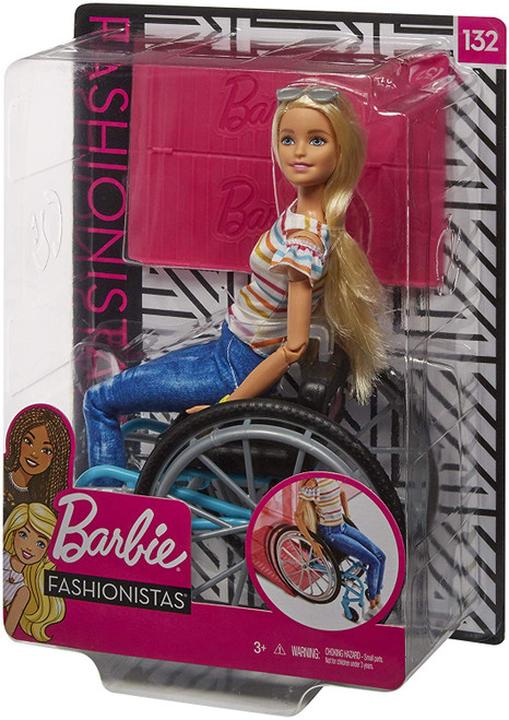 This Fashionistas doll has articulated limbs and reflects a physical disability. Doll set includes a wheelchair and a ramp compatible with Barbie playsets, designed in consultation with experts at UCLA. With added diversity and more variety in styles, fashions, shoes and accessories, kids everywhere will have infinitely more ways to spark their imaginations and play out their stories.