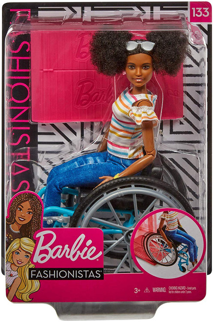 This Fashionistas doll has articulated limbs and reflects a physical disability. Doll set includes a wheelchair and a ramp compatible with Barbie playsets, designed in consultation with experts at UCLA. With added diversity and more variety in styles, fashions, shoes and accessories, kids everywhere will have infinitely more ways to spark their imaginations and play out their stories