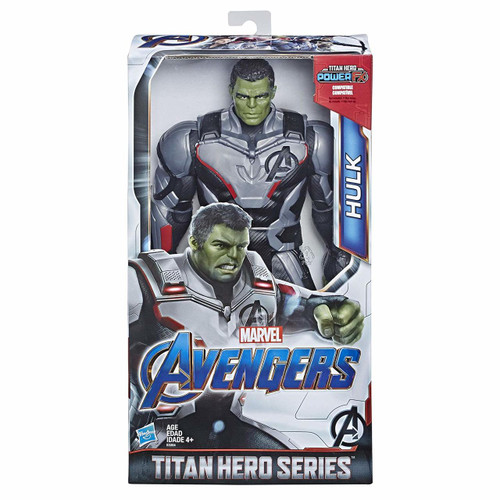 When Bruce Banner gets angry, he transforms into the giant, super strong hero Hulk. Imagine the green goliath aiding his fellow Avengers with the 12-inch scale Hulk figure from the Titan Hero Series, inspired by the Avengers: Endgame movie. This figure includes a port for the Titan Hero Power FX pack (not included; sold separately with Titan Hero Power FX figures) so when kids connect the pack, they can power up their figure and activate character-specific sounds and phrases from Avengers: Endgame!