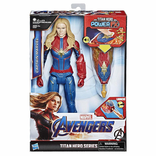 12-inch-scale Captain Marvel figure with movie-inspired design Connect Titan Hero Power FX launcher to activate sounds & phrases & fire projectile Titan Hero Power FX launcher connects to compatible Titan Hero Series figures (each sold separately) Inspired by Avengers: Endgame movie Look for Titan Hero Series and Titan Hero Power FX figures (each sold separately)