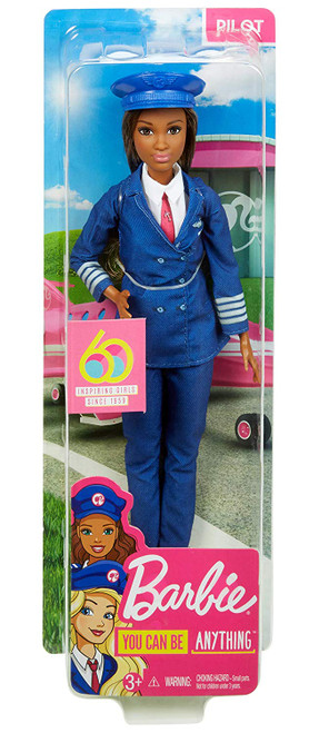 Dream big with Barbie career dolls - she has a resume that spans 60 years and more than 200 professions Barbie pilot doll shoots for the sky in a professional look with themed accessory Her blue pilot's uniform is just the ticket with details that include insignia and a pink tie A matching pilot's cap and black boots ensure pilot Barbie doll is ready to help imaginations take off during playtime Makes a ideal gift for kids who love to fly, travel or explore Collect all the Barbie career dolls and toys to explore even more possibilities because when a girl plays with Barbie, she imagines everything she can become