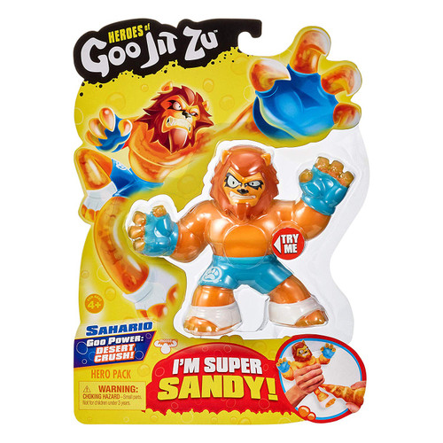The Heroes of Goo Jit Zu are the Squishiest, stretchiest and gooiest action figures ever! Use their goo power to defeat evil and save the day! There are 13 goo jit zu heroes to collect in the hero packs. Every character has a unique goo filling with a different texture and feel. Sahario the lion is Super Sandy and stretchy. When you stretch him, his Sandy insides break apart. Heroes of Goo Jit Zu provides kids with a new gooey way to play with action figures, with no mess! Check out the Heroes of Goo Jit Zu cartoon on YouTube
