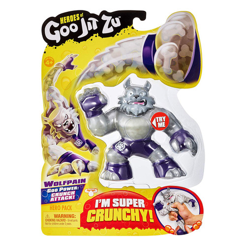 The Heroes of Goo Jit Zu are the Squishiest, stretchiest and gooiest action figures ever! Use their goo power to defeat evil and save the day! There are 13 goo jit zu heroes to collect in the hero packs. Every character has a unique goo filling with a different texture and feel. Wolfpain the Wolf is Super crunchy. Try crushing his bones inside. Heroes of Goo Jit Zu provides kids with a new gooey way to play with action figures, with no mess! Check out the Heroes of Goo Jit Zu cartoon on YouTube