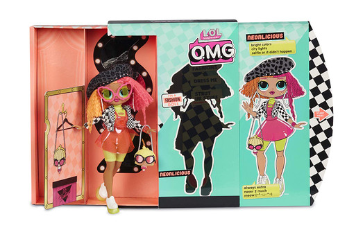 Unbox 20 surprises with L. O. L. Surprise! O. M. G. fashion doll, Neonlicious, with stunning features and beautiful hair. Neonlicious is the big sister to fan favorite L. O. L. Surprise! character, Neon Q. T. Dress Neonlicious in her fierce fashions and fabulous accessories. Package becomes reusable dressing room playset for Neonlicious to strut her stuff. Includes fashion doll, fashions, shoes, shoebox, accessories, hat box, purse, hair brush, garment bags, doll stand and reusable package playset in an all new unboxing experience.