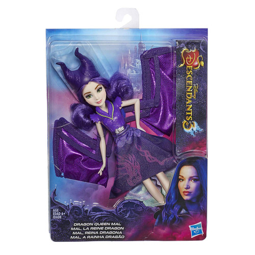 MAL FROM DISNEY'S DESCENDANTS 3: Mal will do what she has to in order to protect her friends and Auradon FASHION DOLL WITH ACCESSORIES: This Mal doll includes outfit, wings, headpiece, and boots for fashion play fun DOLL TRANSFORMS TO DRAGON MODE: Push down the button on the doll's back and her magnificent dragon wings expand DISNEY'S DESCENDANTS 3 MOVIE: This Disney toy is inspired by Mal from Disney's Descendants 3 movie TOY FOR 6 YEAR OLDS AND UP: This Descendants doll is an amazing birthday gift or holiday present for kids