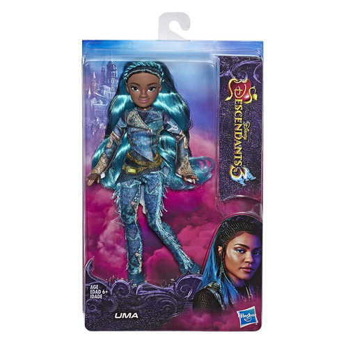 UMA FROM DISNEY'S DESCENDANTS 3: With her pirate gang and magical shell necklace, Uma shows she's still fierce as ever FASHION DOLL WITH ACCESSORIES: This Uma figure includes a doll, a beautiful outfit inspired by the movie, and a pair of shoes for fashion play fun DISNEY'S DESCENDANTS 3 MOVIE: This Disney toy is inspired by Uma from Disney's Descendants 3 movie TOY FOR 6 YEAR OLDS AND UP: This Descendants doll is an amazing birthday gift or holiday present for kids