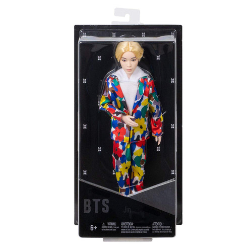 """Show your love for BTS with the official collection of fashion dolls representing all seven artists. Also available (sold separately) are fashion dolls based on all six other BTS members: RM, SUGA, j-hope, Jimin, V, and Jung Kook. Collect all them all. This Jin doll's fashion is inspired by the unforgettable custom-designed suit that he wears in the """"Idol"""" music video and is carefully crafted to match his signature style. They have rooted hair and are both articulated and poseable-you can move their arms, legs, and heads."""