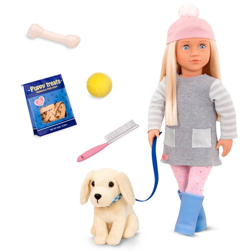 Who's up for a game of fetch? This Our Generation Meagan doll comes with her very own doggy pal to bring for walks and play with. Dress and style Meagan, brush her hair and get her and her pooch ready for the great outdoors with this wide range of clothes and accessories!