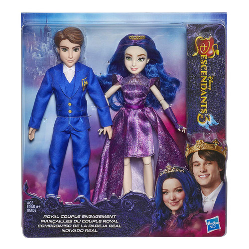 BEN AND MAL FROM DISNEY'S DESCENDANTS 3: Ben and Mal celebrate their engagement in royal style FASHION DOLLS WITH ACCESSORIES: These Ben and Mal dolls each include removable fashions and shoes inspired by the movie Disney's Descendants 3, and Mal has a tiara DISNEY'S DESCENDANTS 3 MOVIE: This Royal Couple Engagement doll set is inspired by Ben and Mal from Disney's Descendants 3 movie TOY FOR 6 YEAR OLDS AND UP: This Disney toy is an amazing birthday gift or holiday present for kids