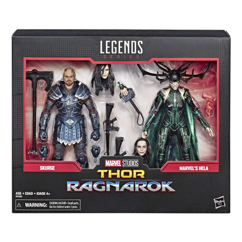 MARVEL LEGENDS SERIES 6-INCH ACTION FIGURES: Celebrate the Marvel Cinematic Universe with this Skurge and Marvel's Hela (with new accessory) 6-inch-scale action figure 2-pack. MARVEL MOVIE-INSPIRED DESIGN: With premium deco inspired by the Thor: Ragnarok film where Skurge and Hela join forces to threaten the planet Asgard, these figures make a great gift for fans of Marvel PREMIUM POSEABILITY AND DETAIL: These highly articulated Marvel Legends Series figures feature intricate character detailing, making them excellent for both play and display. SWITCHABLE HANDS AND 9 ACCESSORIES: Both the Skurge and Marvel's Hela figures come with 2 alternate hands, allowing fans to create dynamic poses and memorable scenes from the Marvel Cinematic Universe. SWITCHABLE HANDS AND 9 ACCESSORIES: Both the Skurge and Hela figures come with 2 alternate hands, allowing fans to create dynamic poses and memorable scenes from the Marvel Cinematic Universe