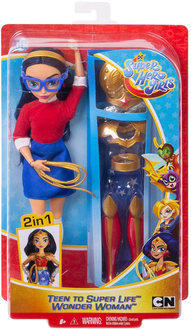 """Wonder Woman doll, a.k.a Diana Prince, comes with complete looks -transform her from super-teen to Super Hero! Fans can act out everyday teen moments, or swoop into action-Packed adventures with this action doll and 9 removable accessories. She comes dressed in her everyday outfit with a stylish sweater, skirt, shoes, headband, and glasses. When duty calls, change Diana Prince into her iconic Wonder Woman uniform complete with a star-spangled skirt, knee-high boots, a lasso, shield, tiara, and more. Doll (approx.11-in) can stand alone and has bendable """"joints"""" (at the elbows, wrists, and knees) for action-Packed posing and play. For ages 6 and up."""