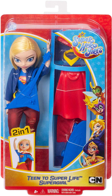 """Supergirl doll, a.k.a Kara Danvers, comes with two complete looks -transform her from super-teen to Super Hero! Fans can play out every day Super Hero High stories, or swoop into action-Packed play to save the day with this doll and 6 removable accessories. She comes dressed in her school outfit, ready to rock in her ripped jeans, boots, belt, and motor jacket. When duty calls, change Kara Danvers into her iconic Supergirl uniform complete with a red cape, skirt, belt, and sneakers. For storytelling fun, she also comes with her signature guitar and skateboard. Doll (approx.10.5-in) can stand alone and has bendable """"joints"""" (at the elbows, wrists, and knees) for action-Packed posing and play. For ages 6 and up."""
