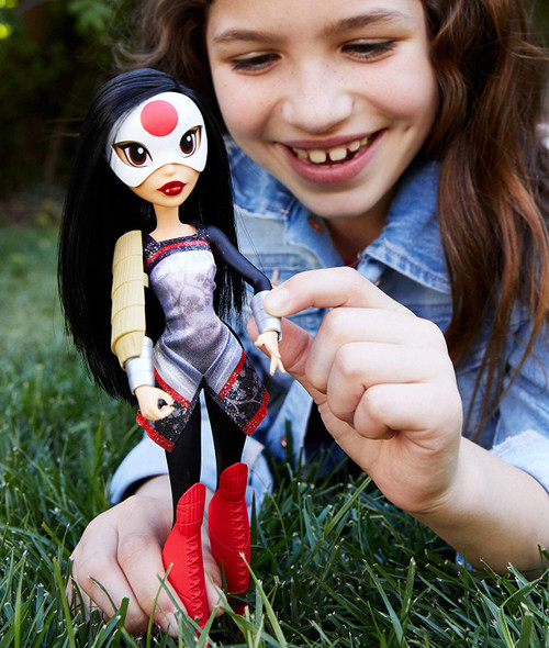 Unleash your inner hero with these DC Super Hero Girls action dolls! This Katana doll (approx. 10.5 in.) comes in her iconic Super Hero outfit with removable accessories. Katana doll makes a fashion statement as bold and powerful as she is with her removable knee-high boots, samurai top, shiny armour, and slick white mask. Featuring a strong build, she can stand alone for powerful posing and action-Packed play. Fearless, quick, and sharp -Katana inspires kids to be true to themselves and discover their own unique super strengths. Collect them all!