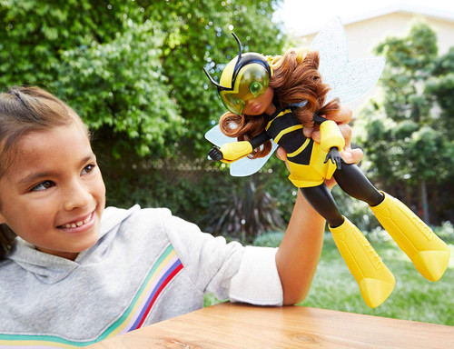 Unleash your inner hero with these DC Super Hero Girls action dolls! This Bumblebee doll (approx. 10 in) comes in her iconic Super Hero outfit with removable accessories. Bumblebee doll makes a fashion statement as bold and powerful as she is with her removable striped top, knee-high boots, and helmet with adjustable visor. Featuring a strong build and moveable wings, she can stand alone for powerful posing and action-Packed play. Brilliant, determined, and full of heart -Bumblebee inspires kids to be true to themselves and discover their own super strengths. Collect them all! For ages 6 and up.