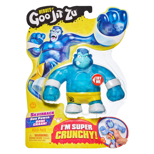The Heroes of Goo Jit Zu are the squishiest, stretchiest and gooiest action figures ever! Use their goo power to defeat evil and save the day! There are 13 Goo Jit Zu Heroes to collect in the Hero Packs. Every character has a unique goo filling with a different texture and feel. Silverback the Gorilla is super crunchy. Try crushing the skulls inside him. Heroes of Goo Jit Zu provides kids with a new GOOEY way to play with action figures, with no mess! You can stretch and squish your Goo Jit Zu Heroes and they will always come back to their original shape! Check out The Heroes of Goo Jit Zu cartoon on YouTube
