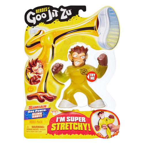 The Heroes of Goo Jit Zu are the squishiest, stretchiest and gooiest action figures ever! Use their goo power to defeat evil and save the day! There are 13 Goo Jit Zu Heroes to collect in the Hero Packs. Every character has a unique goo filling with a different texture and feel. Simian the Monkey is super stretchy and gooey. See how far you can stretch him and then he returns to his original form. Heroes of Goo Jit Zu provides kids with a new GOOEY way to play with action figures, with no mess! You can stretch and squish your Goo Jit Zu Heroes and they will always come back to their original shape! Check out The Heroes of Goo Jit Zu cartoon on YouTube