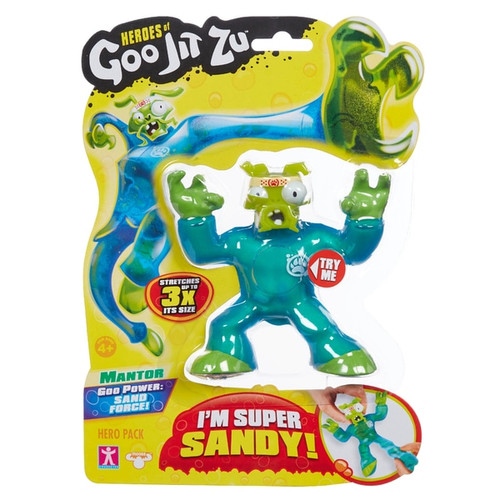 The Heroes of Goo Jit Zu are the Squishiest, stretches and gooiest action figures ever! Use their goo power to defeat evil and save the day! There are 13 goo jit zu heroes to collect in the hero packs. Every character has a unique goo filling with a different texture and feel. Mantis the mentor is Super Sandy and stretchy. When you stretch him, his Sandy insides break apart Heroes of Goo Jit Zu provides kids with a new gooey way to play with action figures, with no mess! You can stretch and squish your goo jit zu heroes and they will always come back to their original shape! Check out the Heroes of Goo Jit Zu cartoon on YouTube