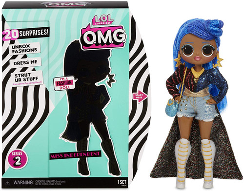 Unbox 20 surprises with L. O. L. Surprise! O. M. G. Fashion doll, miss independent, with stunning features, styled hair and articulated for tons of poses! Miss independent is the big sister to fan favorite L. O. L. Surprise! character, independent Queen. Dress miss independent in her fierce fashions and fabulous accessories. Pro tip: hands are removable for easy dressing. Package becomes reusable closet & Dressing room Playset for miss independent to strut her stuff. Includes fashion doll, fashions, shoes, shoebox, accessories, hat box, purse, hair brush, Garment bags, doll stand and reusable package Playset. Collect all 4 L. O. L. Surprise! O. M. G. Series 2 fashion dolls.