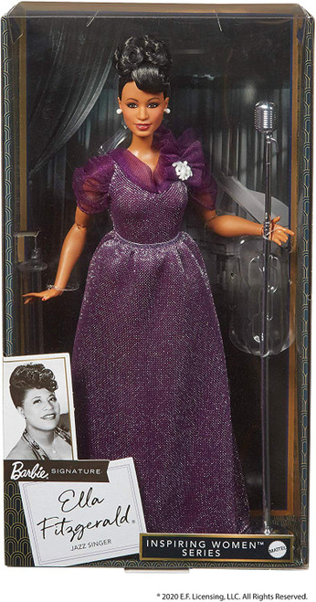 "A chance opportunity to perform at the famous Apollo Theater catapulted Ella Fitzgerald into stardom to become one of the most popular and beloved jazz singers in the world. With her incomparable voice and spirit of determination, Ella earned the title ""First Lady of Song"" and the adoration of fans across generations. Ella Fitzgerald Barbie doll features a curvy body type and wears an elegant gown in a shimmery deep purple with sheer, gathered sleeves. An elegant up-do and pearlescent brooch complete her stage-ready look. This collectible Barbie doll includes a microphone and stand with a vintage look and is fully articulated for endless posing possibilities."