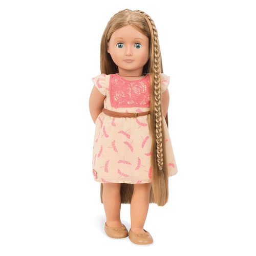 Contents: A doll, a dress, a belt, a pair of undies, a pair of shoes, a comb, and 2 metal heart clips 2 Hair extensions Hairstyle guide features directions on how to create 4 different hairdos Headband not included. Doll height 46cm