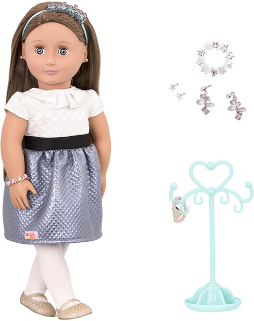 The Aliana from our generation doll is a doll is 18 inches Brown Hair, Blue Eyes and Skin. She is wearing a white dress with blue and white, tights, a pair of shoes and a headband. Makes a jewelry and gift choice for the doll are supplied with Aliana.