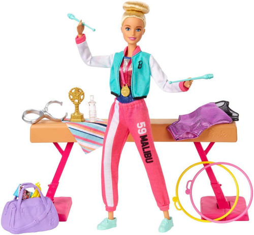 You can be a gymnast with the Barbie Gymnast playset Includes gymnastic training environment with Barbie Gymnast doll in a metallic leotard and these additional accessories: extra leotard, a warmup suit, extra shoes, towel, snacks and a gym bag. Playset also includes a balance beam, 2 rings, spinning clip and 2 batons that Barbie Gymnast doll can use to compete and perform. Attach spinning clip to Barbie Gymnast doll and watch her flip across the beam and perform other fun gymnastic moves Barbie Gymnast doll's hard work, strength and determination lead her to a well-earned trophy and a medal with a ribbon. What a competition