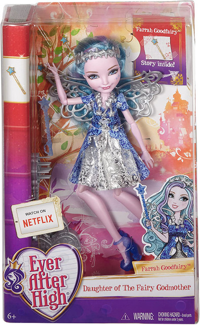At Ever After High, the teenage sons and daughters of fairytale legends learn they can choose to follow in their parents' footsteps or discover their own Happily Ever After's! Student Farrah Good fairy, daughter of Cinderella's Fairy Godmother, joins the Ever After Royals in embracing her story She wears her signature iconic fashion that fans of the series will recognize from the webisodes The trendy clothing, amazing shoes and fabulous accessories are inspired by her legacy and include silvery wings and a wand An enclosed storybook provides biographic details on the fairytale student