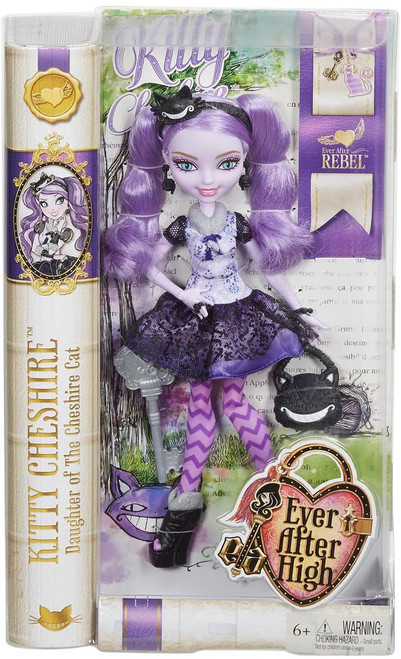 "Kitty Cheshire, daughter of the Cheshire Cat of Wonderland, has decided to rewrite her destiny as an Ever After Rebel The posable doll wears her iconic outfit from the webisodes Her outfit has cat-inspired print, purple patterned tights, ""fur""-lined booties, yarn-themed jewelry Comes with a headband and bag with grinning face are the cat's meow Doll also comes with a doll stand, doll hairbrush and bookmark that reveals her hexclusive story"
