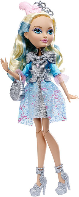 "At Ever After High, the teenage sons and daughters of the most famous fairytales turn tradition on its crown when they decide to Choose Their Own Ever After's! Darling Charming, daughter of King Charming, has decided to rewrite her destiny as an Ever After Rebel The pose able doll wears her iconic outfit from the webisodes: a silvery dress with a metallic bodice and sheer glittery peplum Silvery shoulder armor with ""jewel""-encrusted detail and a pink belt tied with a ""jewel"" charm are very warrior-princess Accessories include silvery shoes, a cuff bracelet with ring, tiara-style headband and armor-inspired purse"