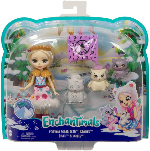"""Enchantimals Family Toy Set, Odele Owl Small Doll (6-in) with 3 Owl Animal Friends Little ones will flock over this Enchantimals owl family set from the Snowy Valley collection! Includes Odele Owl doll (6-inch), 3 owl figures, 1 mystery bag, and 3 surprise accessories.  Odele Owl doll comes dressed in a removable skirt, snow boots, wings, and headband. Cruise and the other 2 owl babies are each distinctively designed with their own adorable looks.  For a fun surprise, kids can open the mystery bag to reveal 3 frozen """"treats!"""" """