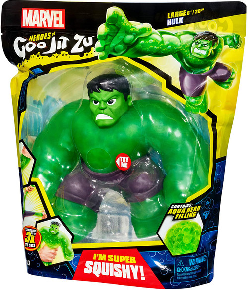 """Contents: 1 x Heroes of Goo Jit Zu Marvel Supergoo Hulk Marvel Superheroes and the Heroes of Goo Jit Zu have combined forces! Ready to defeat evil and save the day! Just like other Heroes of Goo Jit Zu characters, he has a unique goo filled body, but now he's a huge oversized 20cm tall! Squeeze his """"Supagoo"""" super-size body and see his unique water bead filling stretch and squish!"""