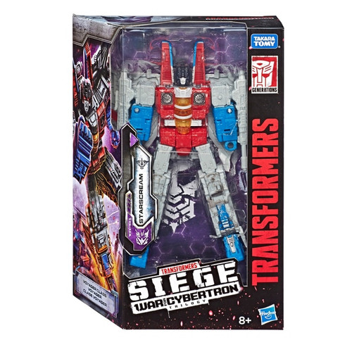 Contents: 1 x Starscream figure, 2 x weapon accessories,and instructions. Starscream figure comes equipped with 2 weapon accessories. Figure features multiple weapon ports to attach weapons, enabling custom weapon configurations in bot and vehicle modes. This articulated Voyager Class WFC-S24 Starscream toy features classic conversion between robot and Cybertronian jet modes in 22 steps. Fans can build bigger mission loadouts by compiling an arsenal of additional weapon accessories from other Siege figures. (Each sold separately. Subject to availability).
