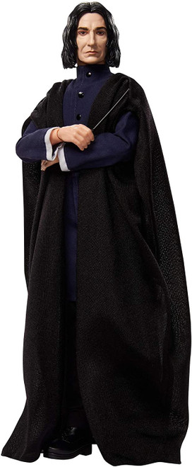 Fans and collectors can relive their favorite movie moments and imagine their own magical stories with Harry Potter dolls! This collectible Severus Snape doll looks just like his onscreen character in a black, single-breasted coat and long, flowing wizard's robes. Includes a personalized wand matching the one Professor Snape uses in the film series! Flexibility at the neck, shoulders, hips, knees, elbows and wrists readies Snape doll for action-play and spellbinding poses.  Harry Potter dolls make a great gift for 6 year olds and up. Fans can collect to build out the wizarding world and create their own magical stories!