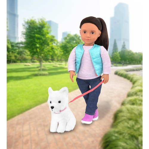 Includes: Our Generation doll, 1x pair jeans, 1x pair undies, 1x vest, 1x top, 1x pair of boots, 1x plush dog with collar, 5x pet accessories Cassie comes with her own plush pet! Doll features long black hair and hazel eyes 5 Our Generation pet accessories: bone toy, rope toy, ball, leash and comb Doll size: 46cm