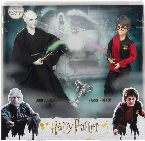 Recreate the epic duel between Harry Potter and Lord Voldemort with a 2-pack of collectible dolls inspired by their characters in Harry Potter and the Goblet of Fire ! Film-inspired accessories include the Triwizard Cup and a personalized wand for each doll. With flexibility at the neck, shoulders, hips, knees, elbows and wrists Harry Potter doll and Voldemort doll are ready for action-play and spellbinding poses! Specially designed packaging sets the scene at the Riddle Manor graveyard. This collectible Harry Potter set makes a great gift for 6 year olds and up. Fans can collect other Harry Potter dolls and toys to build out the wizarding world and create their own magical stories!