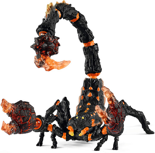 Extremely dangerous – and very patient: the lava scorpion lurks at its victims well hidden in the rugged rocks of the lava world, and is ready to attack at any time. With its glowing tongs, he gives off the perfect grill master. Its shell is made of hard, cold lava stone, but liquid hot lava. If an opponent gets too close, he will attack him without warning, with his glowing, ultra-strong gripping pliers. The Schleich figures are all sculpted in detail and stand for educational play.