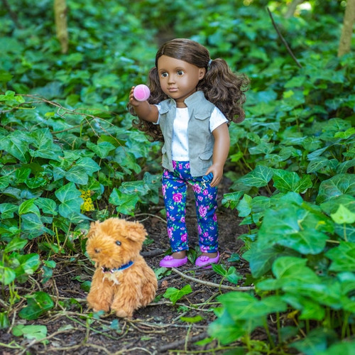 Includes 1 doll, 1 top, 1 vest, 1 pair of pants, 1 pair of undies, 1 pair of shoes, 1 dog, 1 leash, 1 collar with medal, 1 treat toy, 1 teething bone, 1 ball and 1 comb! Mailia has long, wavy, warm brown hair & deep brown eyes! No batteries required
