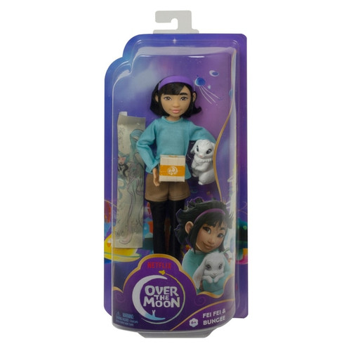 """Take off into out-of-this-world adventure with Fei Fei doll (9-in) and her trusty sidekick, Bungee bunny! This lovable duo from Over the Moon looks just like their characters in the movie, designed with details that fans will recognize and love Styled in her signature look, Fei Fei doll comes dressed in a sweater, shorts with tights, sneakers, headband, and most importantly -- her cherished moon goddess scarf! She has 11 bendable """"joints"""" to blast off into storytelling play Kids can recreate favorite movie moments with Fei Fei and Bungee or embark on their own adventures Makes a great gift for kids ages 5 years and up"""