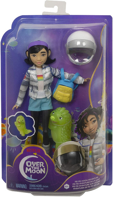 """Blast off into out-of-this-world fun with Fei Fei doll (9-in) and glow-in-the-dark Gobi figure! This lovable pair from Over the Moon looks just like their characters in the movie, with details that fans will recognize and love Fei Fei doll comes dressed in her iconic space-explorer outfit with her removable t-shirt, shorts, bubble jacket, astronaut helmet, and galactic moon boots She has 11 bendable """"joints"""" for stellar storytelling play! Also included is Gobi, a magical Lunarian creature who's looking for companionship. He glows in the dark for stellar storytelling play!"""