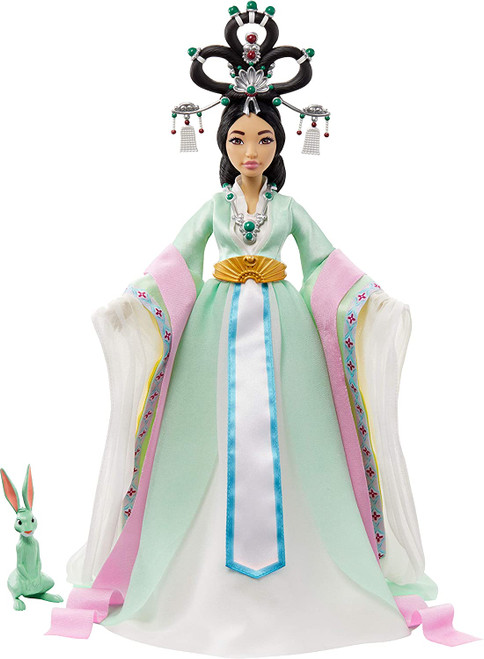 """This Chang'e Moon Goddess Collector doll from Netflix's Over the Moon will have fans starry-eyed. Styled with a look that's both divine and traditional, she is as captivating as her character in the movie. Wearing a traditional Chinese Hanfu gown and beautiful detailed headpiece designed by the renowned fashion designer Guo Pei, this Chang'e doll radiates style and grace. The gown boasts authentic, traditional detailing like draped sleeves, elegant embroideries, and flowing ribbons. Chang'e doll has 11 bendable """"joints"""" for endless posing possibilities. For even more fun, she comes with her beloved companion, Jade Rabbit.  Over the Moon © 2020 Netflix and Pearl Studio. Fans of Netflix's Over the Moon will adore this Chang'e Moon Goddess Collector doll (14-in)! Styled with a look that is both divine and traditional, she is as captivating as her character in the movie. She wears an exquisite, traditional Chinese Hanfu gown and beautifully detailed headpiece designed by the famous fashion designer, Guo Pei. The gown boasts authentic details like draped sleeves, flowy ribbons, and a luxurious belt. For a heavenly touch, Chang'e doll is styled with the famous """"flying fairy"""" up-do from imperial China. She has 11 bendable """"joints"""" for endless posing possibilities. Also included is her devoted companion, Jade Rabbit! Makes a great gift for kids ages 12 years and up."""