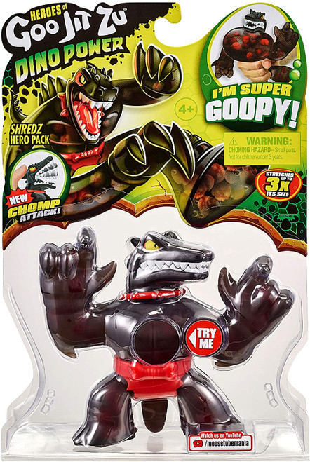 "Heroes of Goo Jit Zu are back to battle with all New Dino Power. All our heroes have gone prehistoric! Shredz is all new and has an easy to use ""Chomp Attack"" jaws! Shredz is super goopy! Squeeze his body and might even find some skulls inside him! You can stretch and squish Shredz and he will always come back to his original shape! He can stretch up to 3 times his size! Collect all 7 Goo Jit Zu Dino Power Heroes! And prepare for the ultimate squishy, prehistoric battle! Heroes of Goo Jit Zu provides kids with a new GOOEY way to play with action figures, with no mess!"