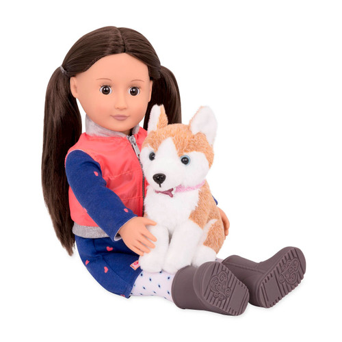 Leslie and her Husky puppy show you why dogs are actually a girl's best friend with the Our Generation Doll & Pet. Leslie is a beautiful 18-inch doll with deep brown eyes and long, straight brunette hair. She wears a perfect dog-walking outfit featuring a cozy blue dress with pink hearts, printed tights, comfy walking boots, and a zip-up vest. Whether out for a stroll in the dog park or playing fetch in the backyard, Leslie and her loyal pup have everything they need. Her puppy comes with a leash, brush, and three chew toys. This adorable Our Generation doll also makes for the perfect gift for your little one.
