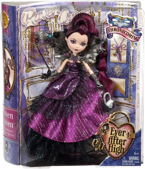Who will be crowned as the Ever After High Thronecoming queen? Girls around the world will vote! The royally rebellious Thronecoming court of Raven Queen, C.A. Cupid, Apple White and Blondie Lockes dolls campaign in their most spellbinding looks (each sold separately)! Raven Queen doll enchants in a wicked awesome outfit inspired by her favorite animal, the epic dragon! Luxurious makeup, shimmery hair and an ornate mask complete a stunning look. Doll also comes with doll stand and storybook featuring the character's hexclusive Thronecoming memories.