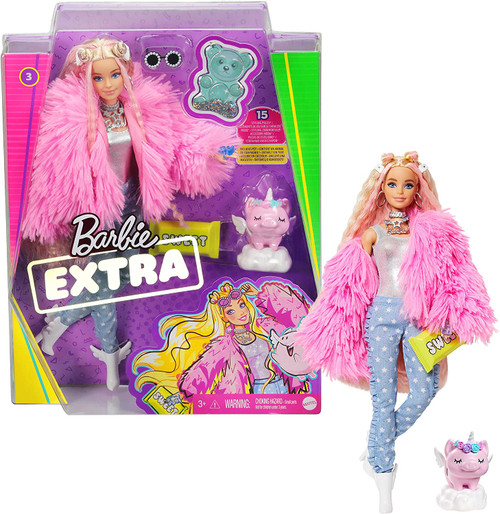 When it comes to fashion, Barbie Extra dolls have a 'more is more' attitude, featuring 15 pieces that include clothing and fashion accessories, as well as a pet and pet accessories Barbie doll's hairstyle goes big with extra-long crimped hair streaked with pink and styled with space buns and hair pins A fun and playful look showcases her confident style with a sparkly top and star-print pants layered with a bright pink, extra-fluffy coat Barbie doll's accessories -- a candy bar clutch, gummy bear ring, lots of silver jewellery, pearl-accented sunglasses and winged boots -- add personal expression and unexpected moments of storytelling fun The pet pig figure is oh-so-EXTRA, too, with a removable unicorn horn and wings, cloud bed and playful expression Kids 3 to 9 years old can collect these dolls, discover Barbie and play out stories of confidence and self-expression