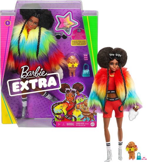 """When it comes to fashion, Barbie Extra dolls have a 'more is more' attitude, featuring 15 pieces that include clothing and fashion accessories, as well as a pet and pet accessories Barbie doll's hairstyle goes big with brunette afro-puffs styled with 2 long braids A fun and playful look showcases her confident style with a red and black matching athleisure outfit layered with a bright rainbow-colored, extra-furry coat Barbie doll's accessories -- a pair of sunglasses stating """"shine bright,"""" a cloud clutch, golden chain-inspired jewellery, real socks and glitter boots -- add personal expression and unexpected moments of storytelling fun The poodle figure is oh-so-EXTRA, too, with star-shaped glasses, pink heels, a playful expression and a purse with doggie biscuits Kids 3 to 9 years old can collect these dolls, discover Barbie and play out stories of confidence and self-expression"""