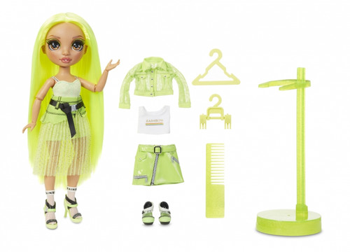 BEAUTIFUL NEON FASHION DOLL. Karma Nichols has a unique design and is dressed in neon from head to toe. She has gorgeous, detailed features and beautiful hair. Collect the Rainbow of all the gorgeous fashion dolls with Rainbow High.