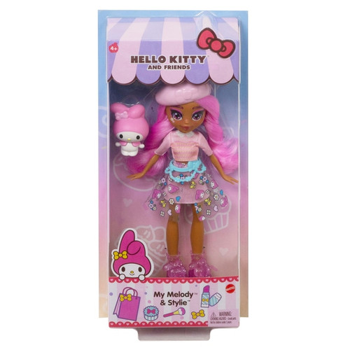 Play out Sanrio friendship fun with Hello Kitty and Friends Stylie Doll & My Melody Figure! Stylie doll comes dressed in trendy clothes and accessories like glittery high-top sneakers, a vinyl skirt, and bow headpiece to match her bestie, My Melody!  A beloved Sanrio icon, My Melody figure is so adorable and ready for storytelling play. Kids will love playing out their special Sanrio bond! Also available are Hello Kitty & Éclair, Badtz-Maru & Jazzlyn, and Keroppi & Dashleen. Dolls cannot stand alone. Each sold separately, subject to availability. Colours and decorations may vary.