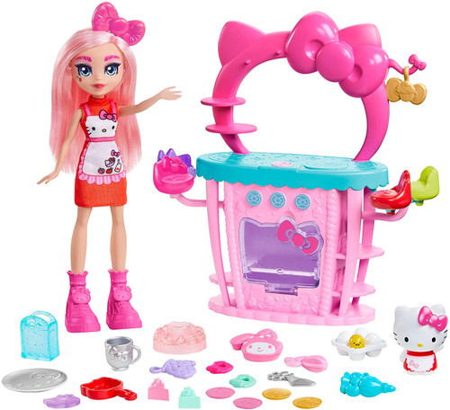 "Bake with Hello Kittyand Éclair doll at their stylish SanrioSo-Delish Kitchen playset! 25-piece playset that includes Hello Kittyfigure, Éclair doll (~10-in / 25.4-cm), oven, and other baking accessories like cake, oven mitts, pans, and more. Mix, stir, ""crack"" the Gudetama egg, and pop a cake into the oven. For colour-change fun, fill the pipette with cold water and ""ice"" the cake to reveal a colour-change decoration. Change it back with warm water! Serve yummy slices of cake at the table that seats up to 4 Sanriofriends."